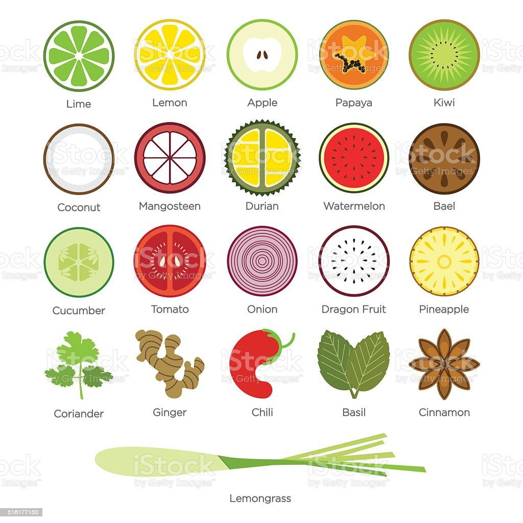 Flat icon set of tropical fruit and Herb. vector art illustration