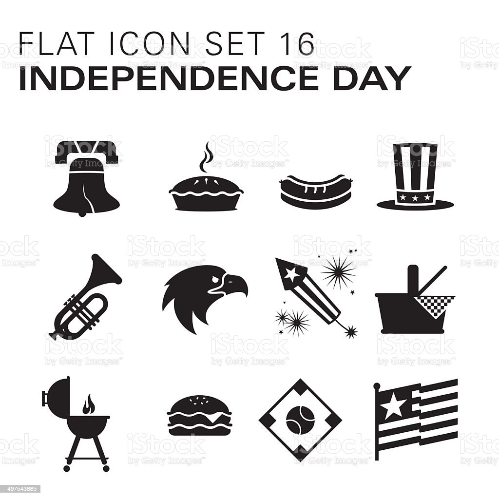 Flat icons 16 - Independence Day/Summer vector art illustration