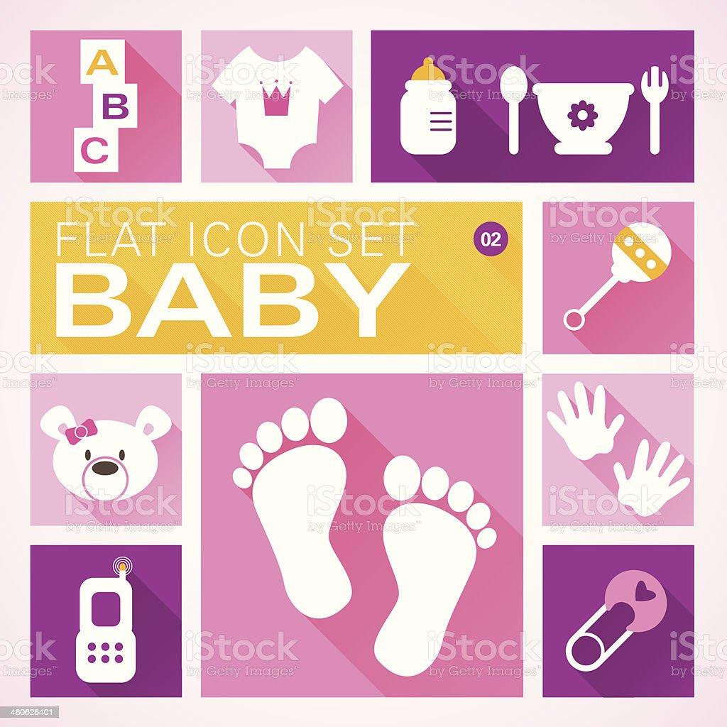 Flat icons 2 Baby Girl vector art illustration