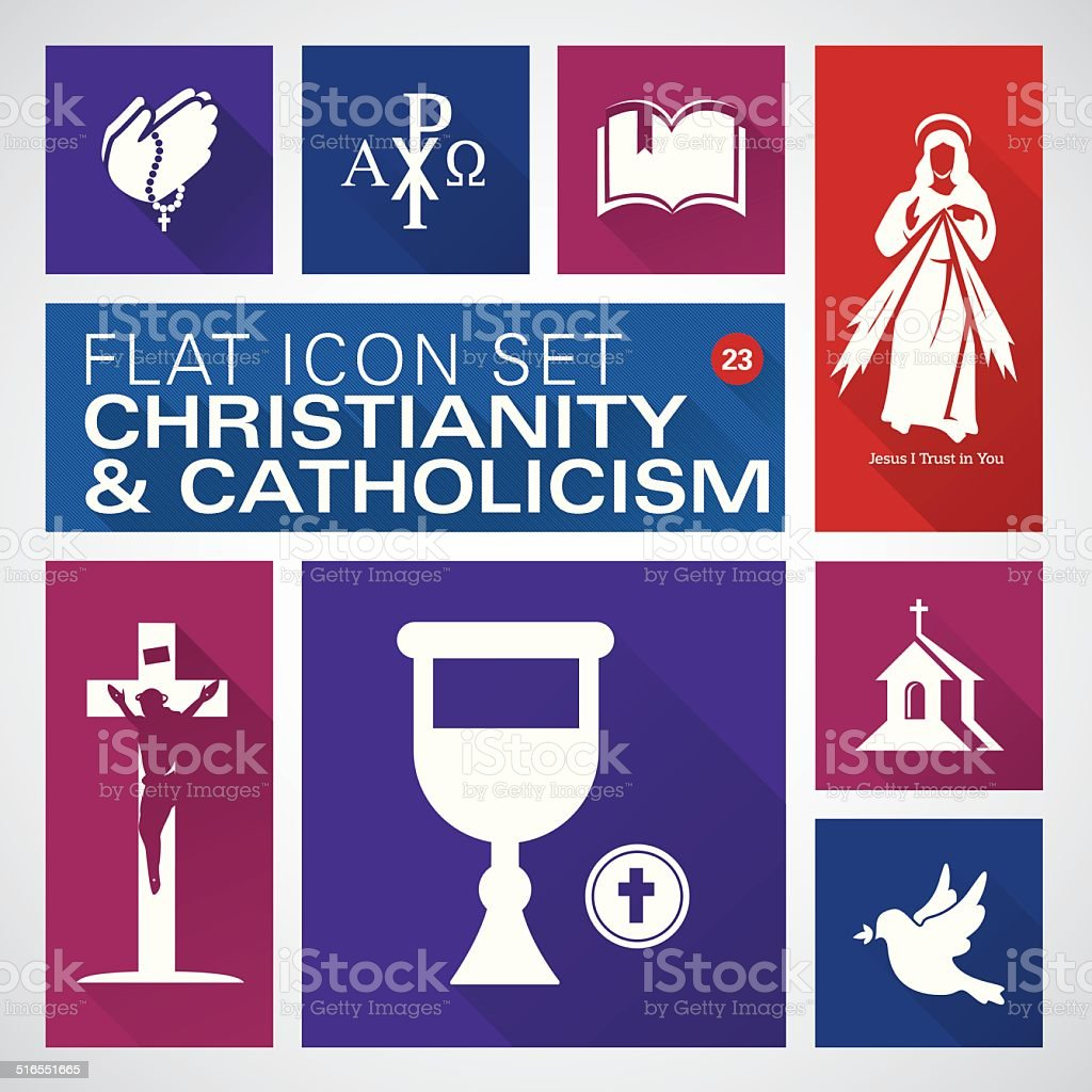 Flat icons 23 Christianity and Catholic Religious - Illustration vector art illustration