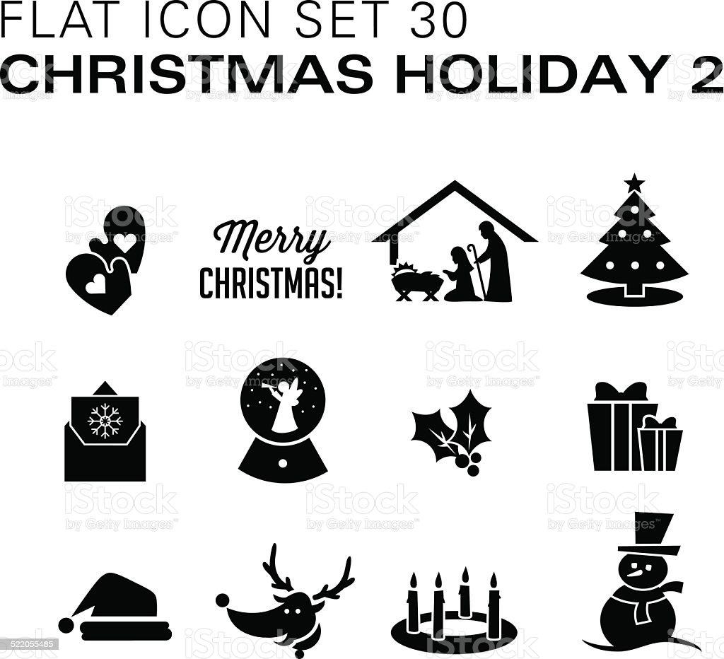 Flat icons 30 Christmas 2 Black vector art illustration
