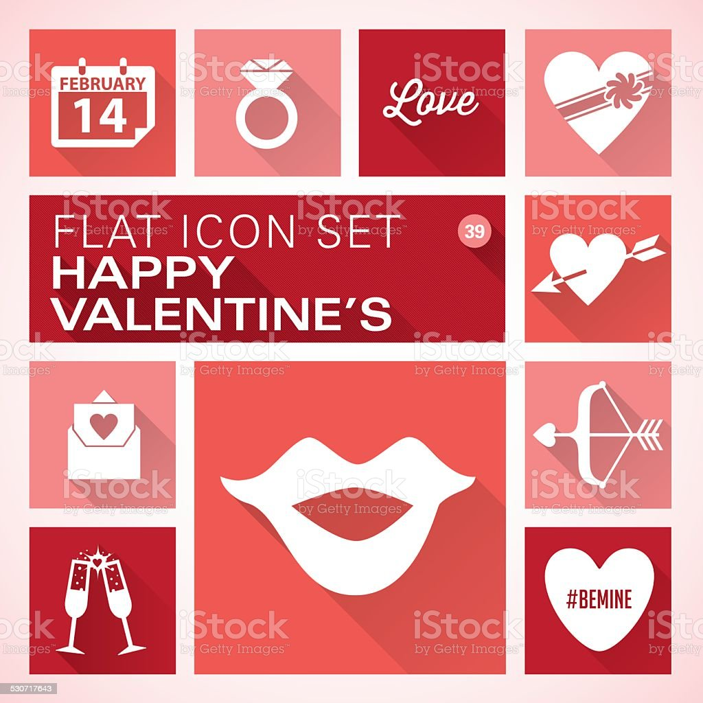 Flat icons 39 Valentine's Day vector art illustration