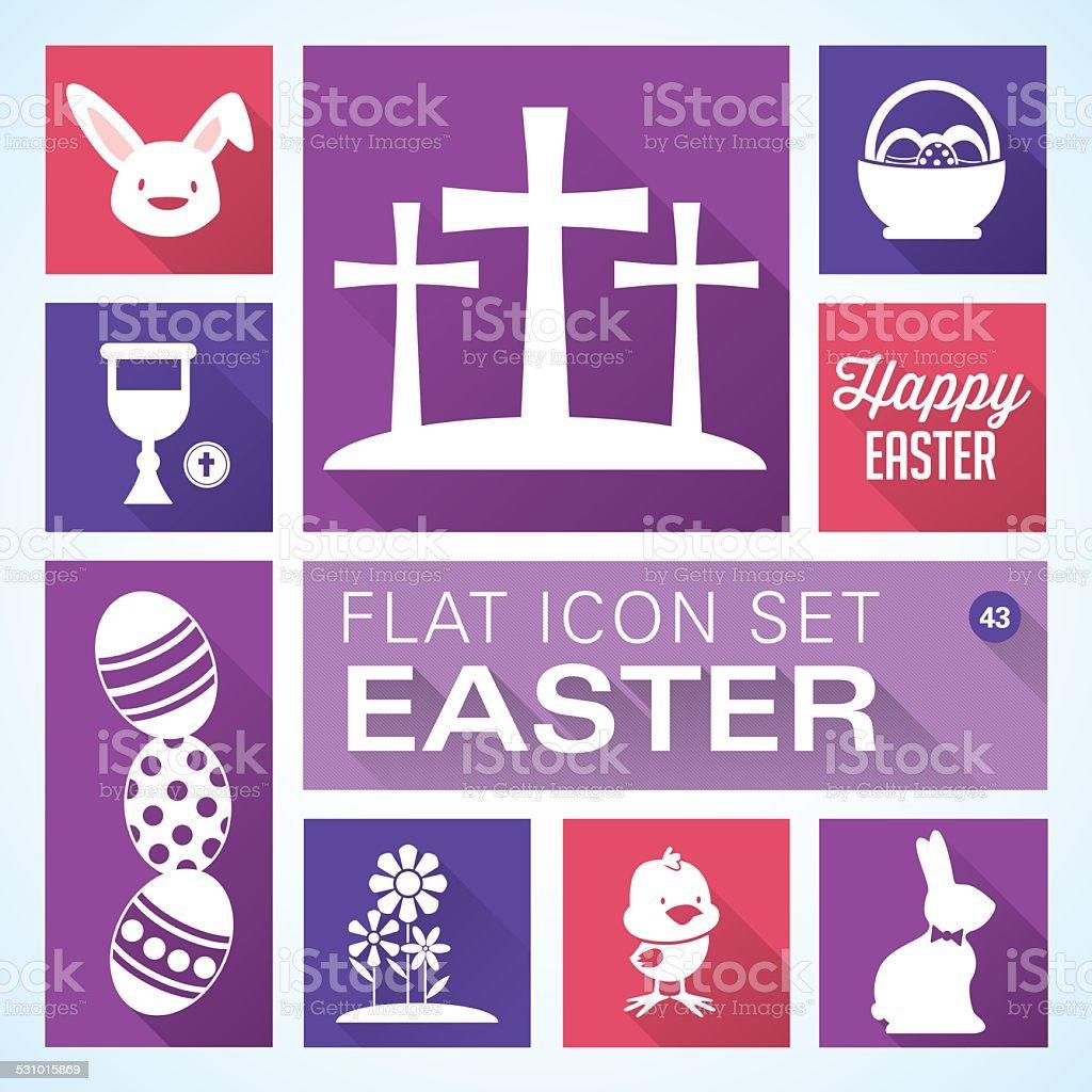 Flat icons 43 Easter vector art illustration