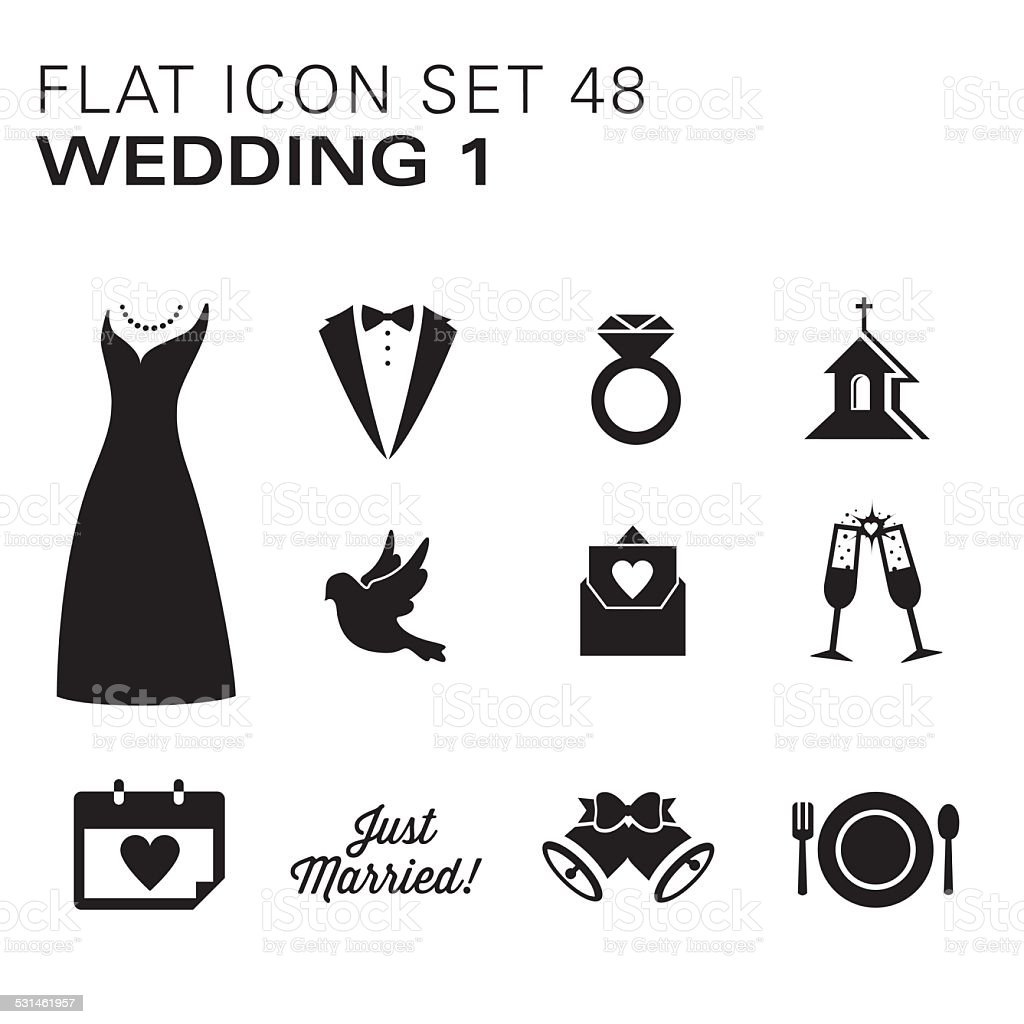 Flat icons 48 Wedding 1 - Black vector art illustration