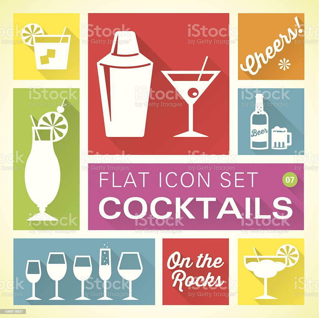 Flat icons 7 Cocktails & Drinks vector art illustration