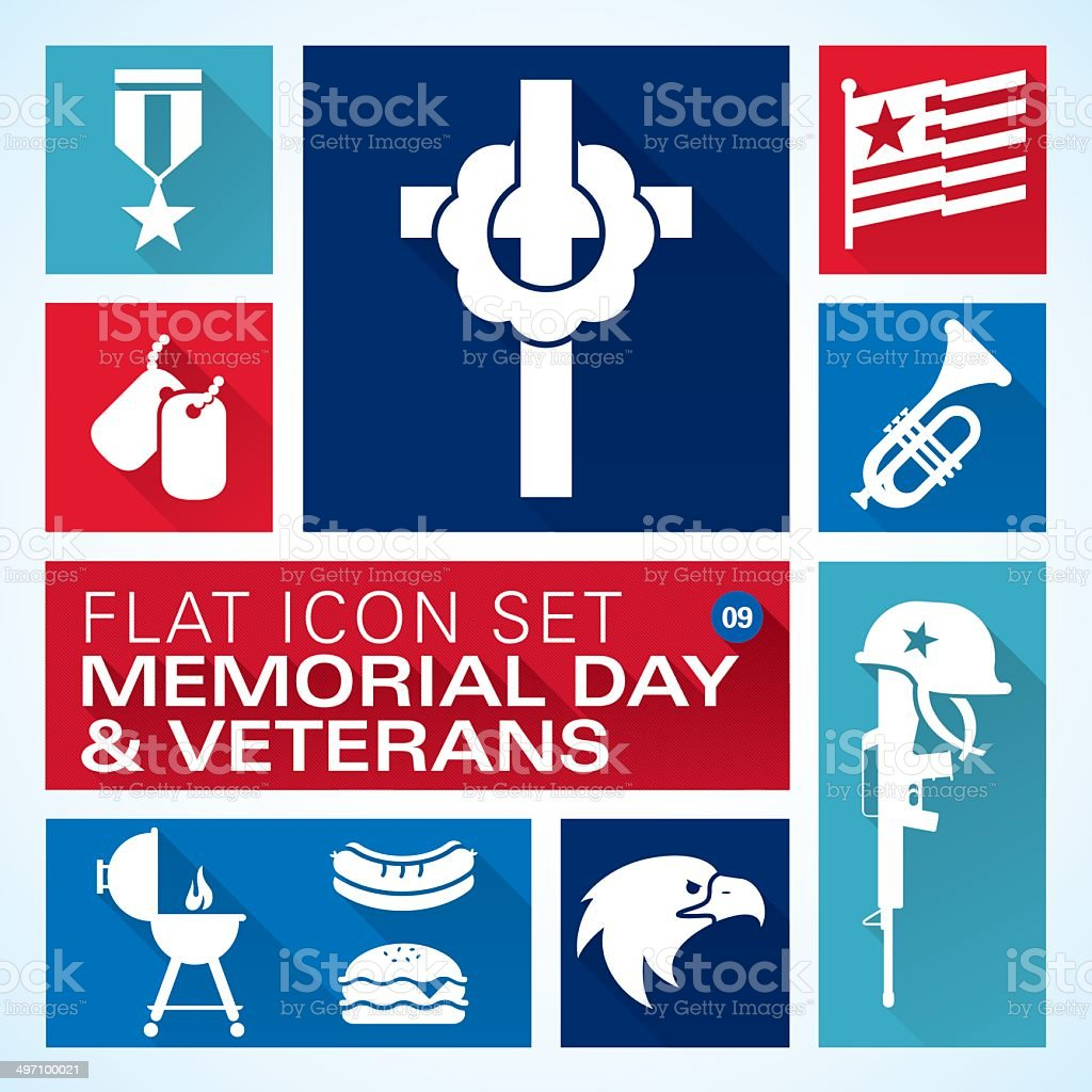 Flat icons 9 Memorial Day & Veterans vector art illustration