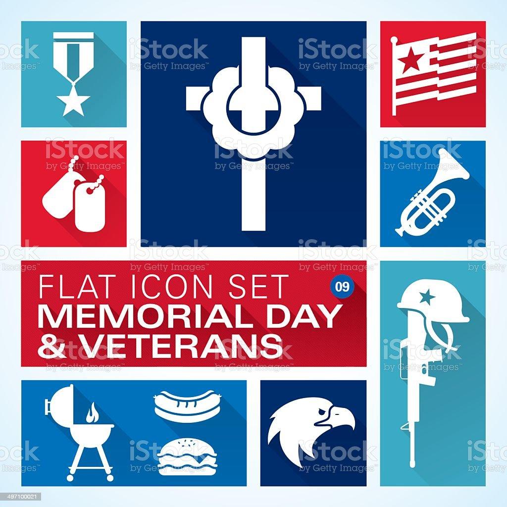 Flat icons 9 Memorial Day & Veterans vector art illustration