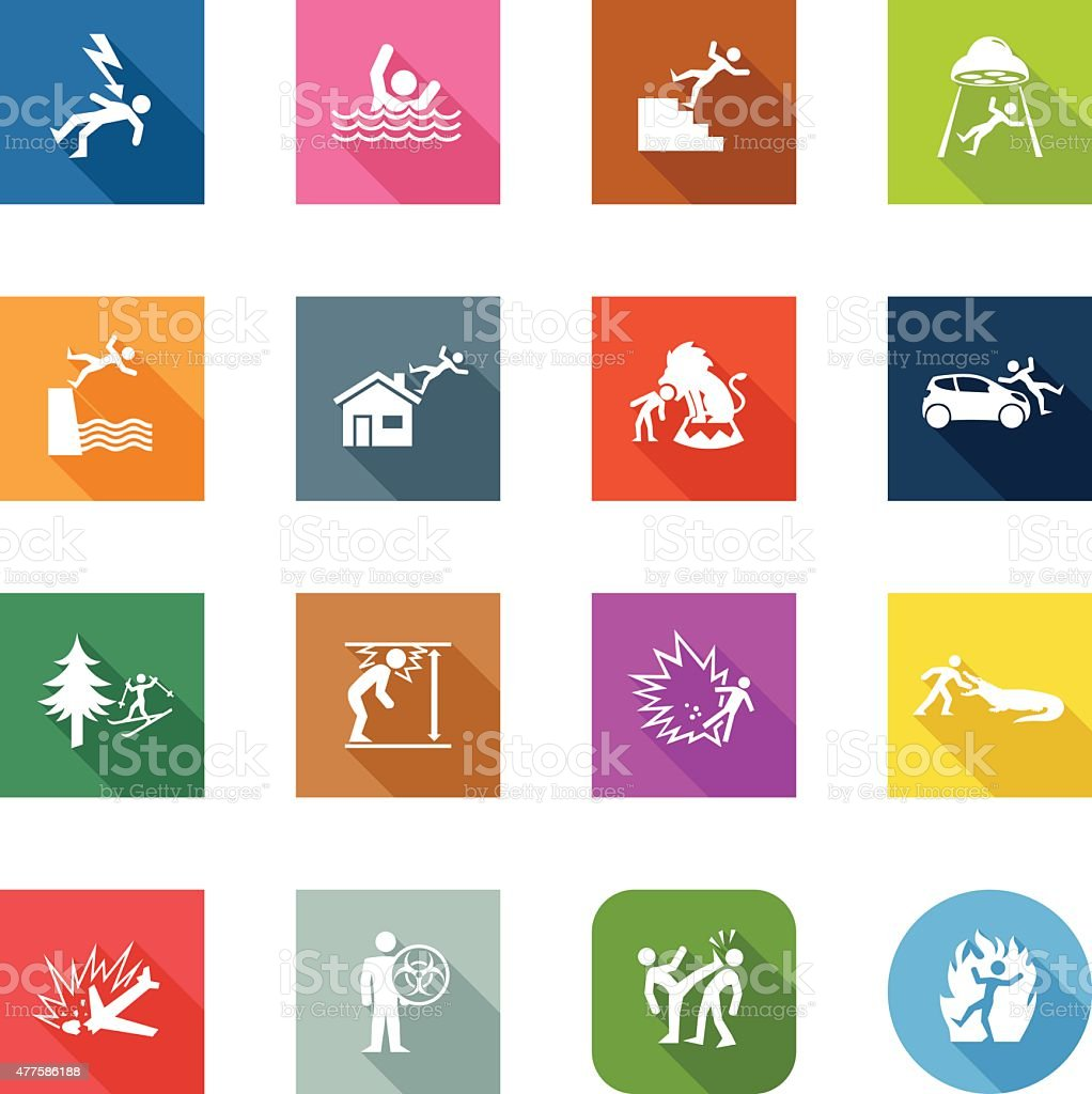 Flat Icons - Accidents vector art illustration