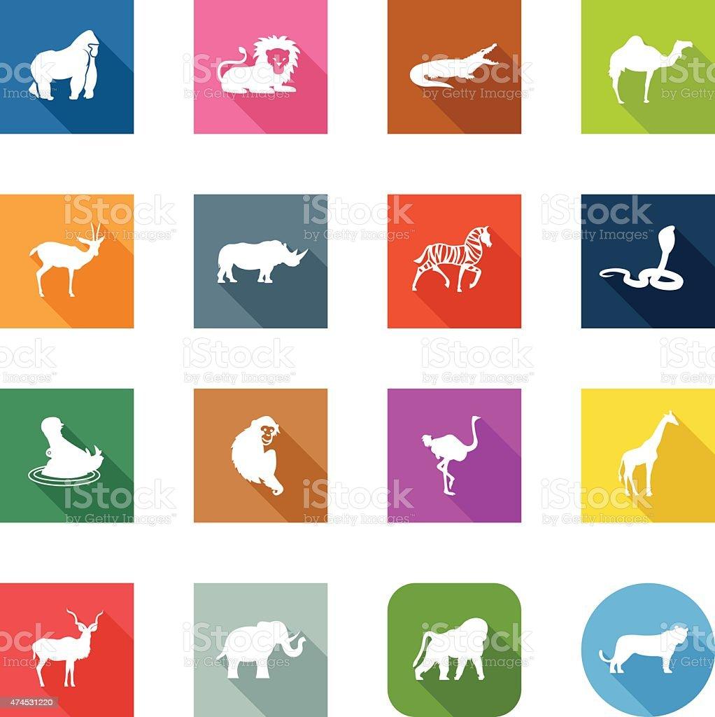 Flat Icons - African Animals vector art illustration
