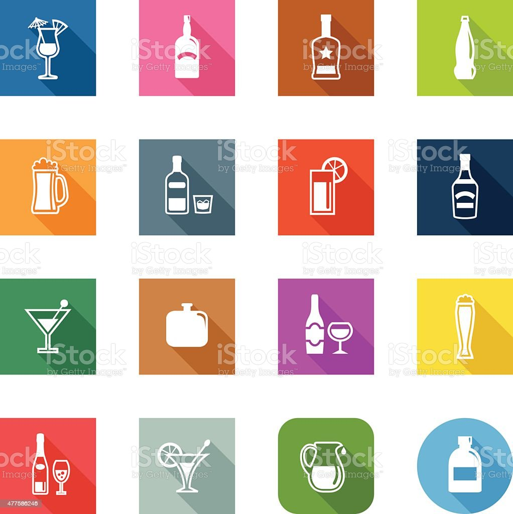 Flat Icons - Alcohol vector art illustration