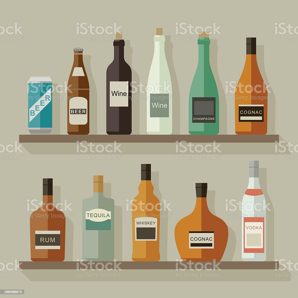 Flat icons alcoholic beverages vector art illustration