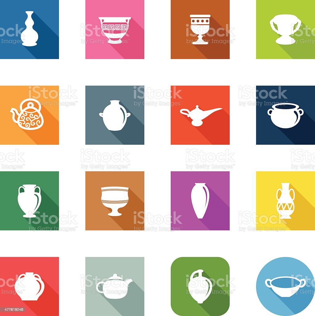 Flat Icons - Ancient Pottery vector art illustration