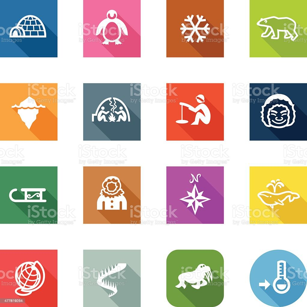 Flat Icons - Arctic vector art illustration