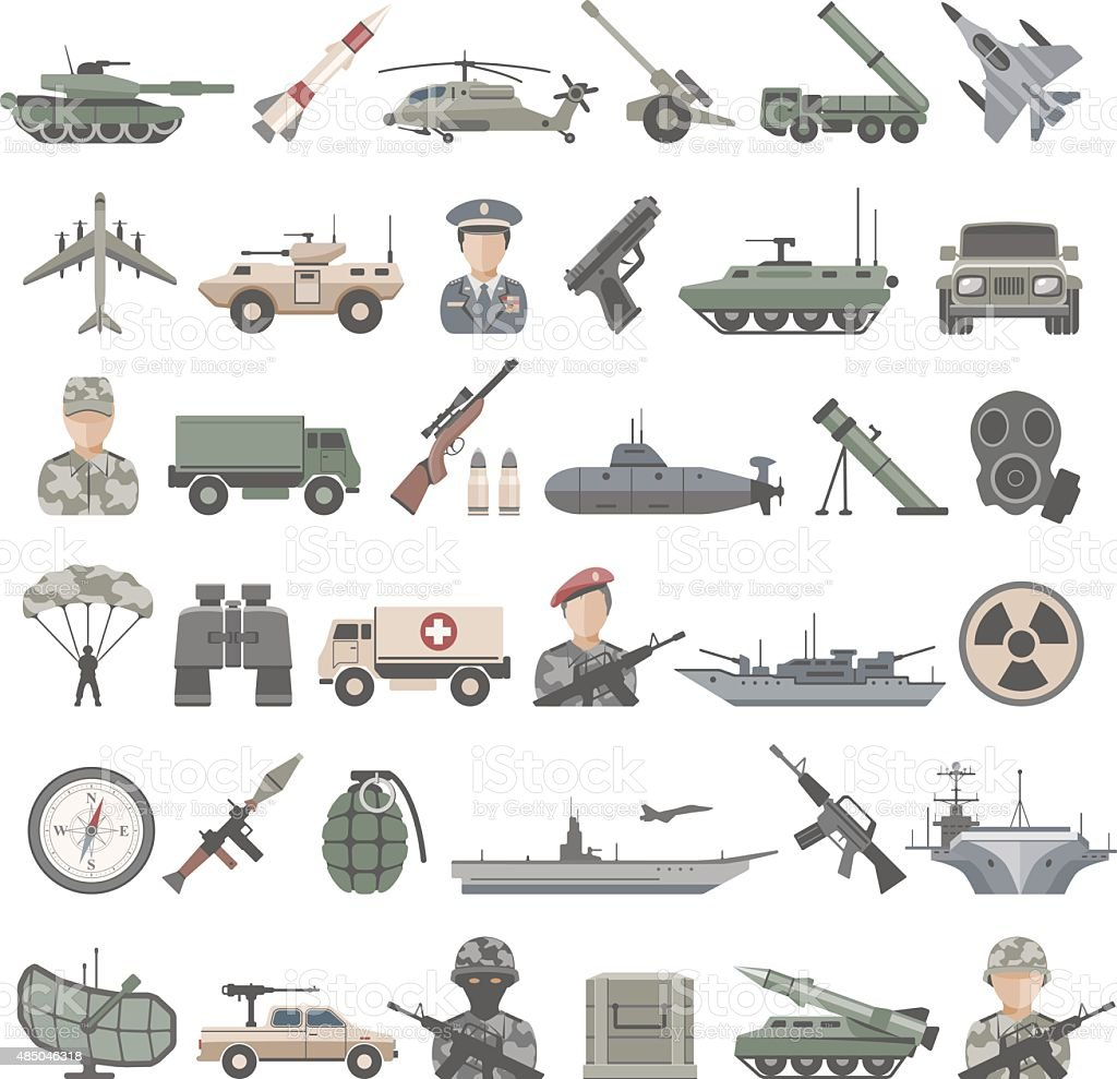 Flat Icons - Army vector art illustration
