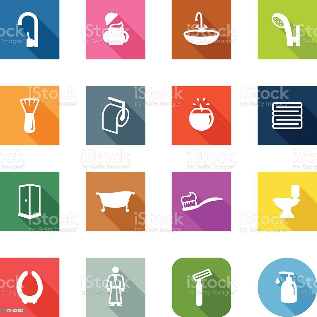 Flat Icons - Bathroom vector art illustration