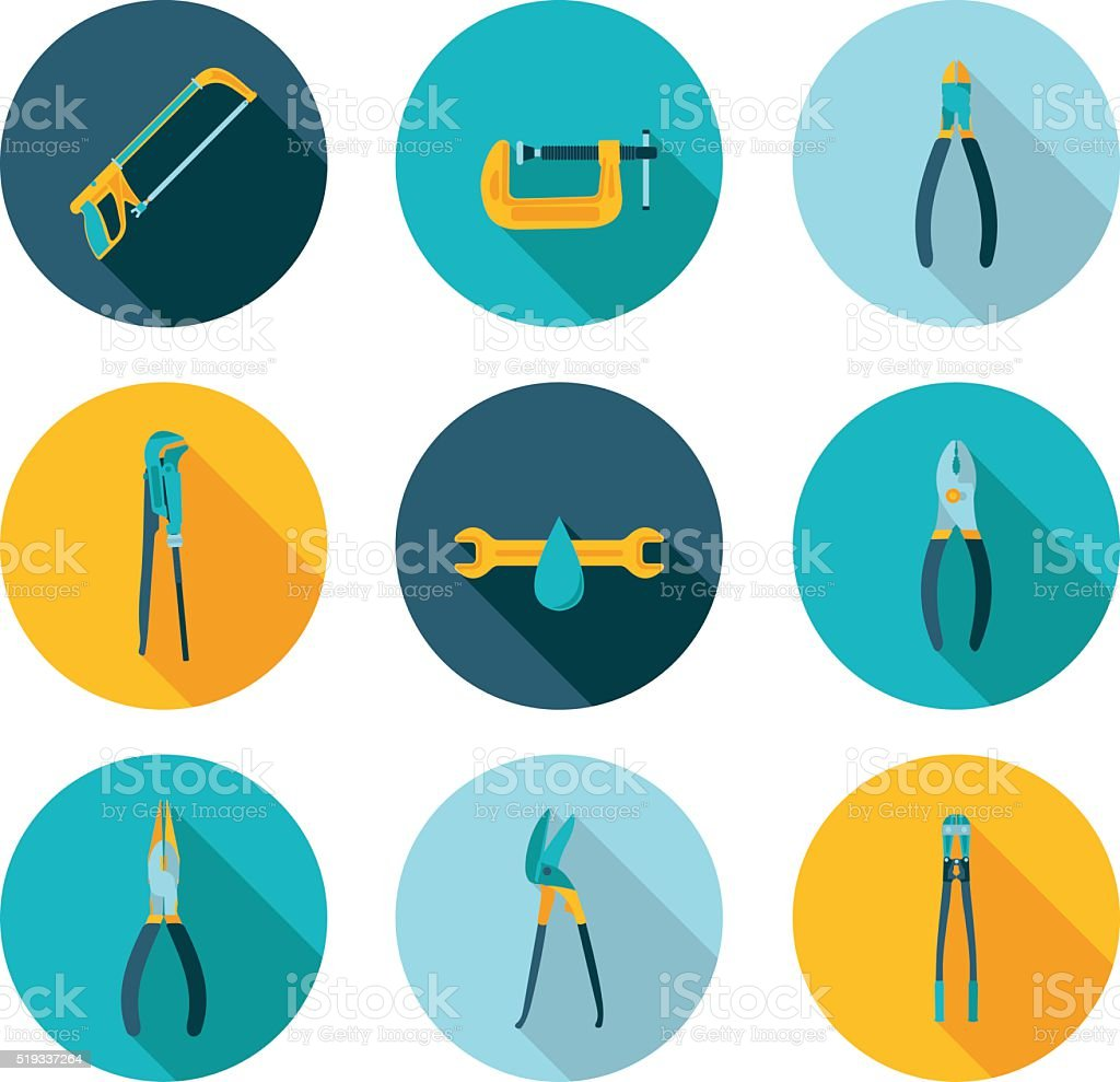 flat icons bench tools vector art illustration