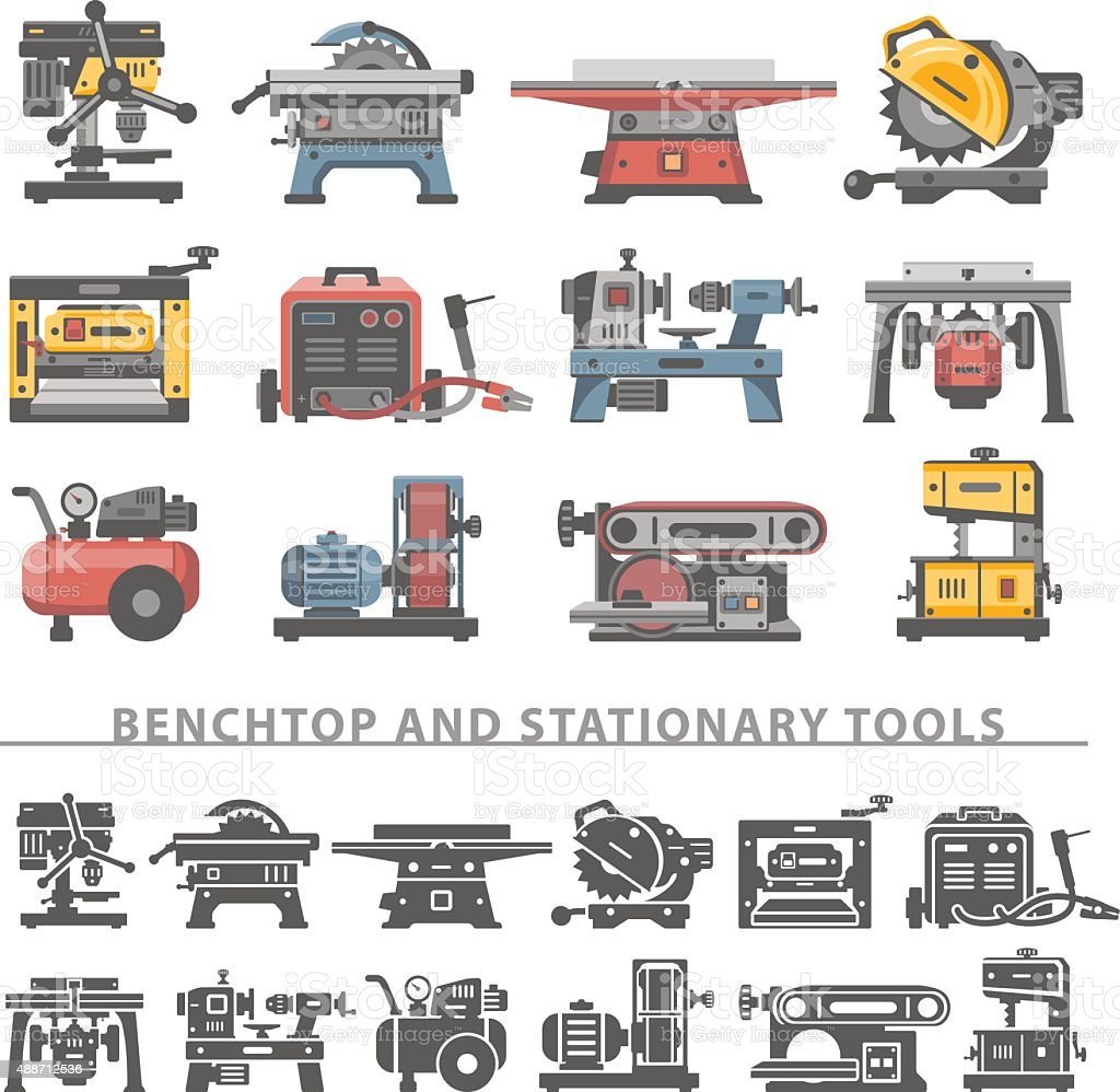 Flat Icons -Benchtop and Stationary Tools vector art illustration