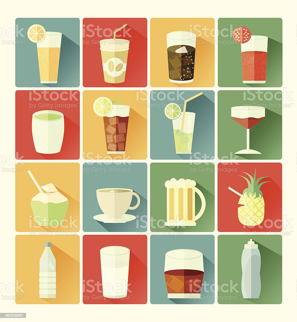 flat icons beverage vector art illustration