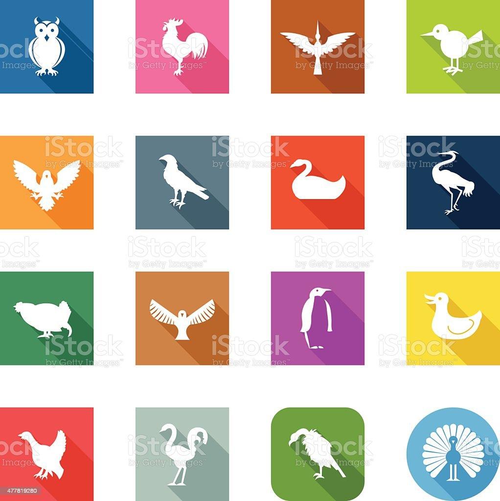 Flat Icons - Birds vector art illustration