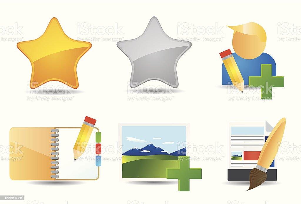 Flat Icons | Blog Admin royalty-free stock vector art