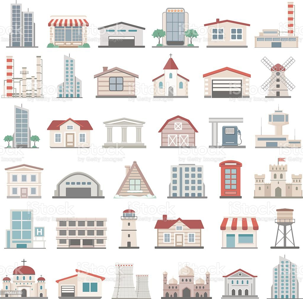 Flat Icons - Buildings vector art illustration