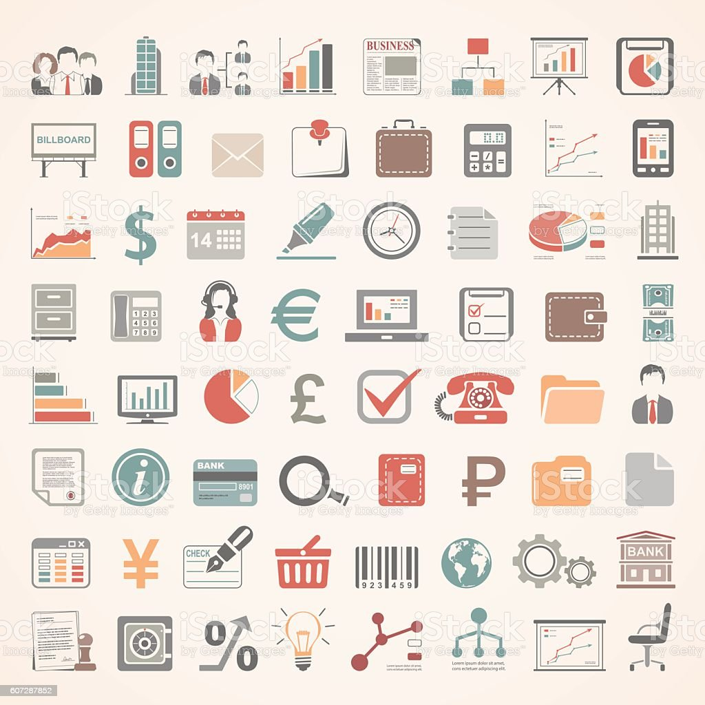 Flat Icons - Business and Finance vector art illustration