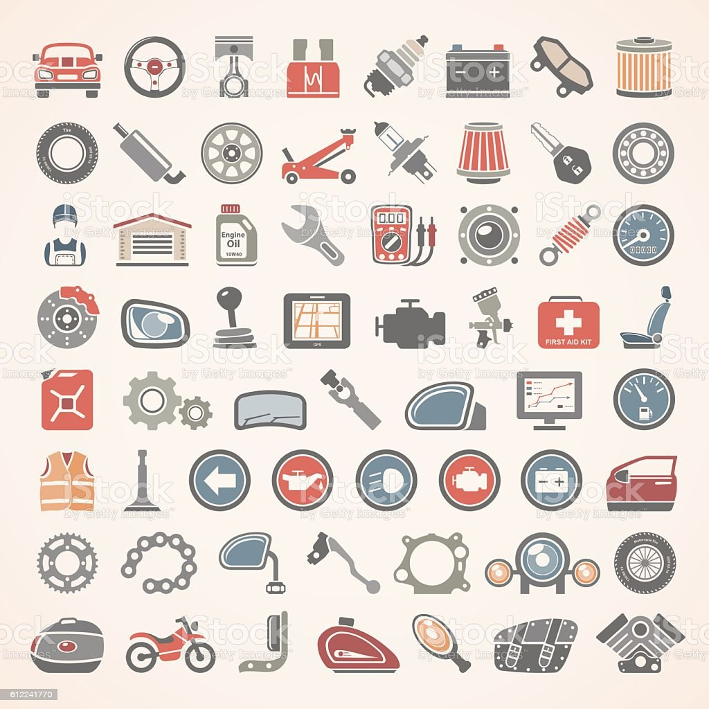 Flat Icons - Car and Motorcycle Parts vector art illustration