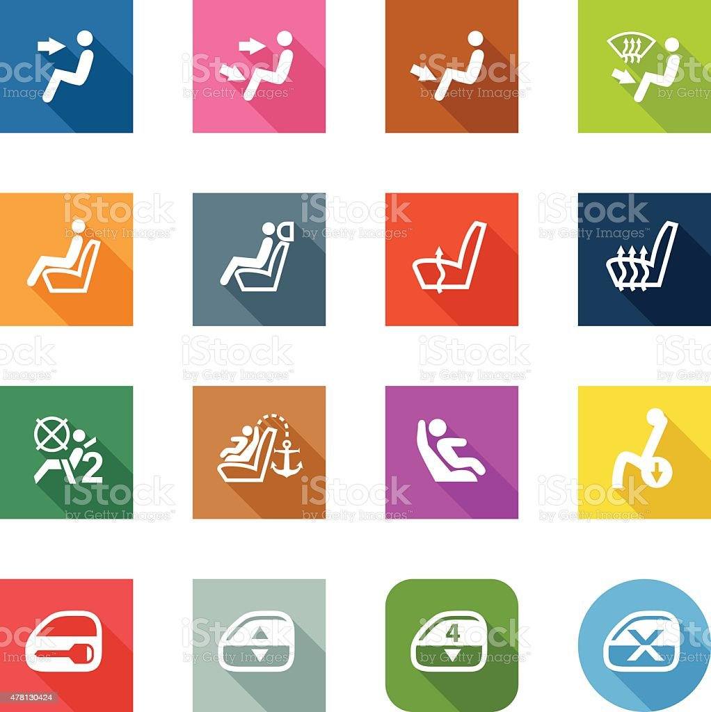 Flat Icons - Car Control Indicators vector art illustration