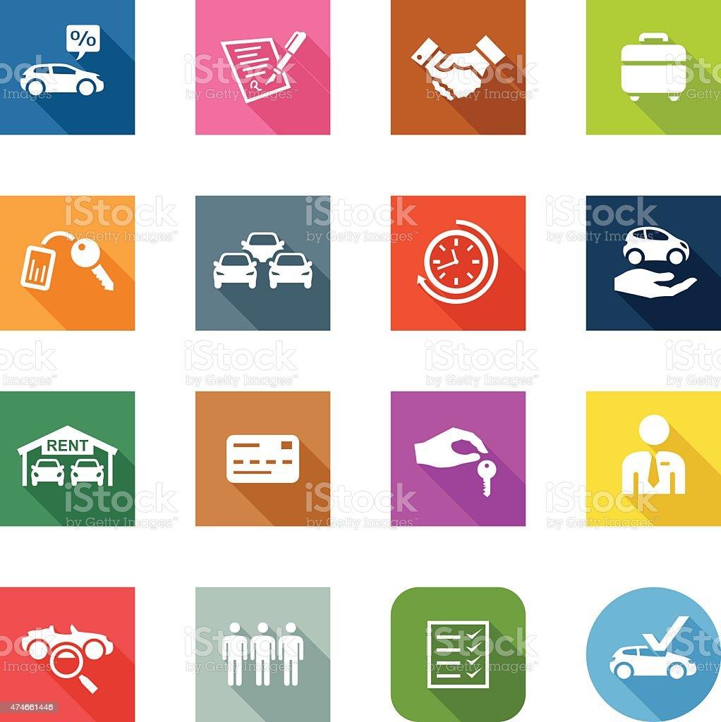 Flat Icons - Car Rental vector art illustration