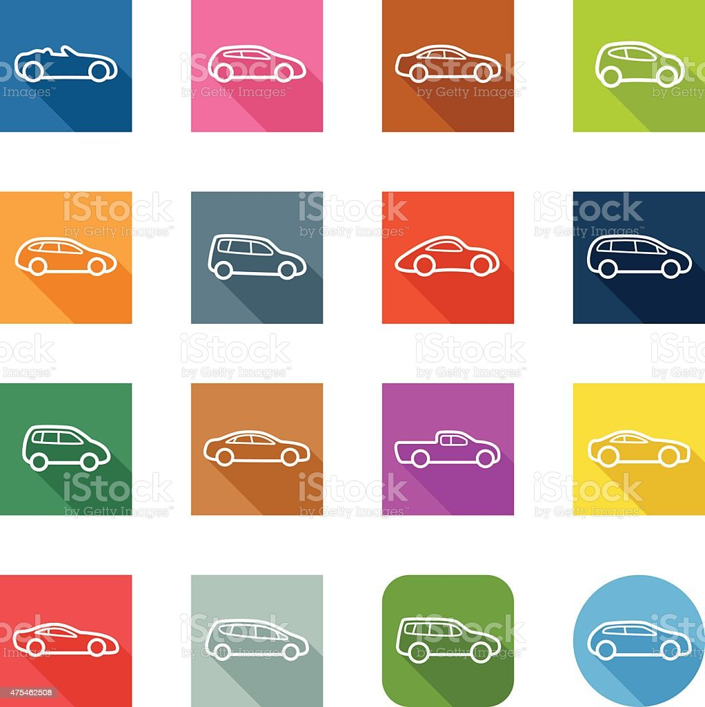 Flat Icons - Cars Outline vector art illustration