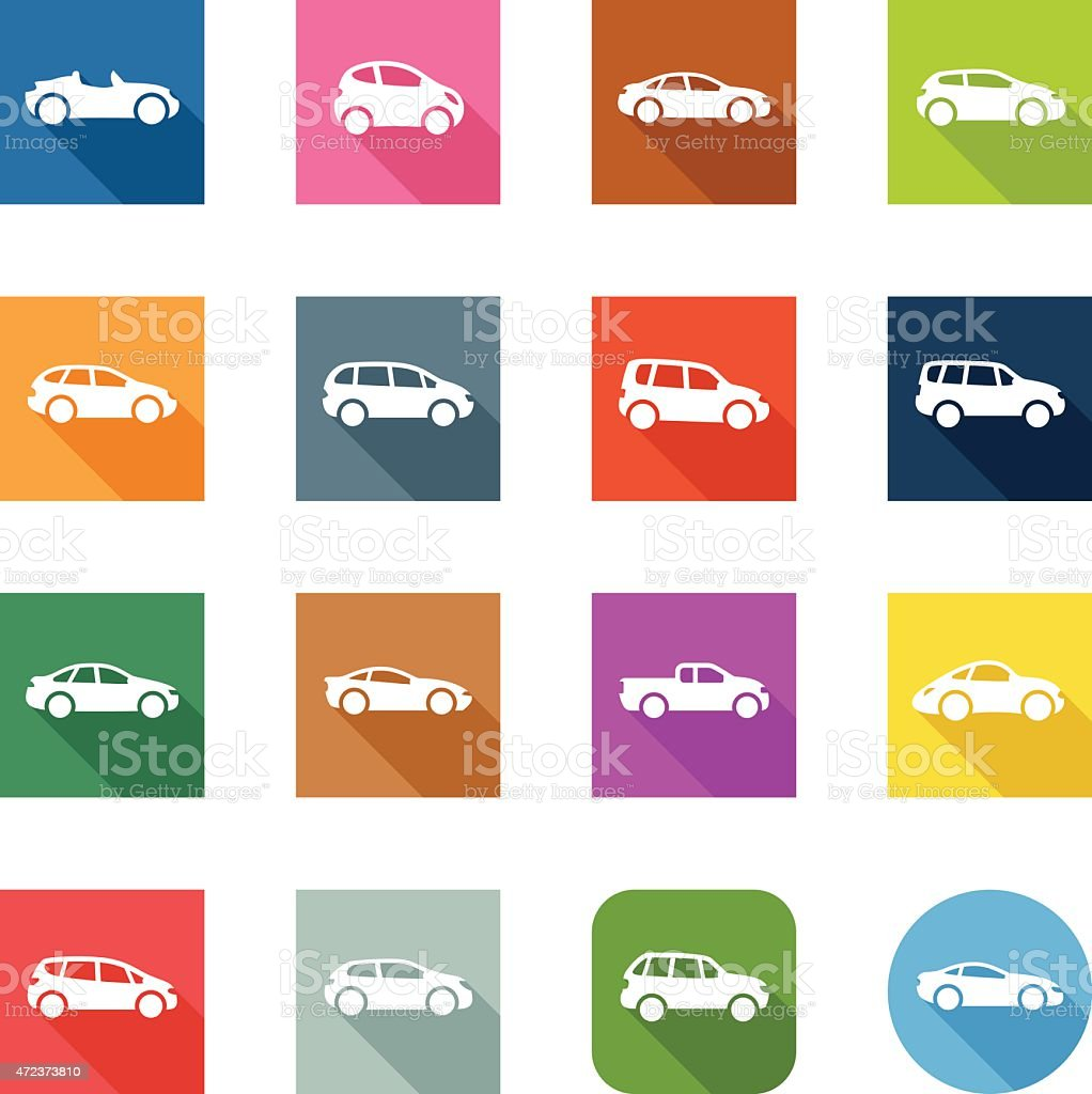 Flat Icons - Cars vector art illustration