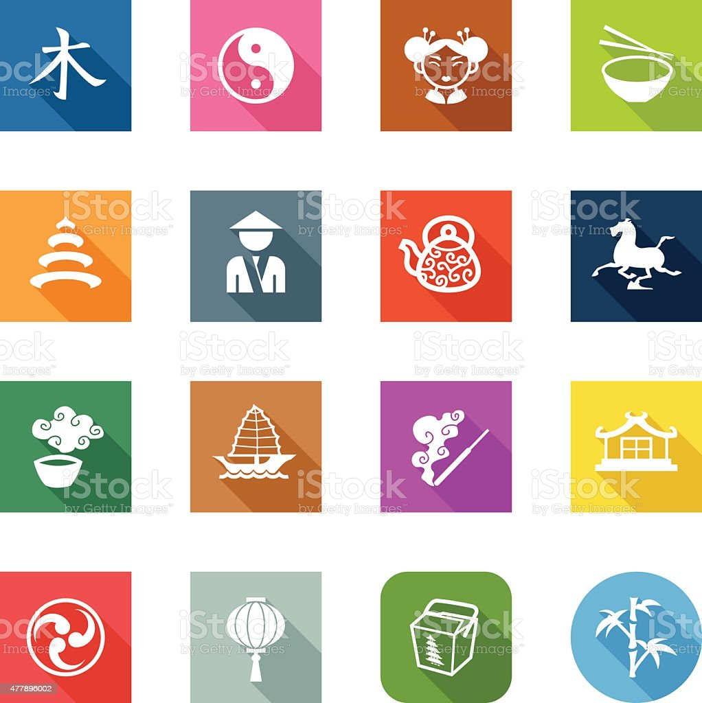 Flat Icons - China vector art illustration