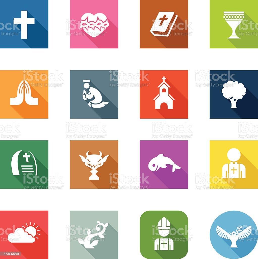 Flat Icons - Christian vector art illustration