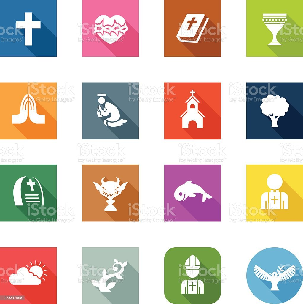 Flat Icons - Christian vector art illustration