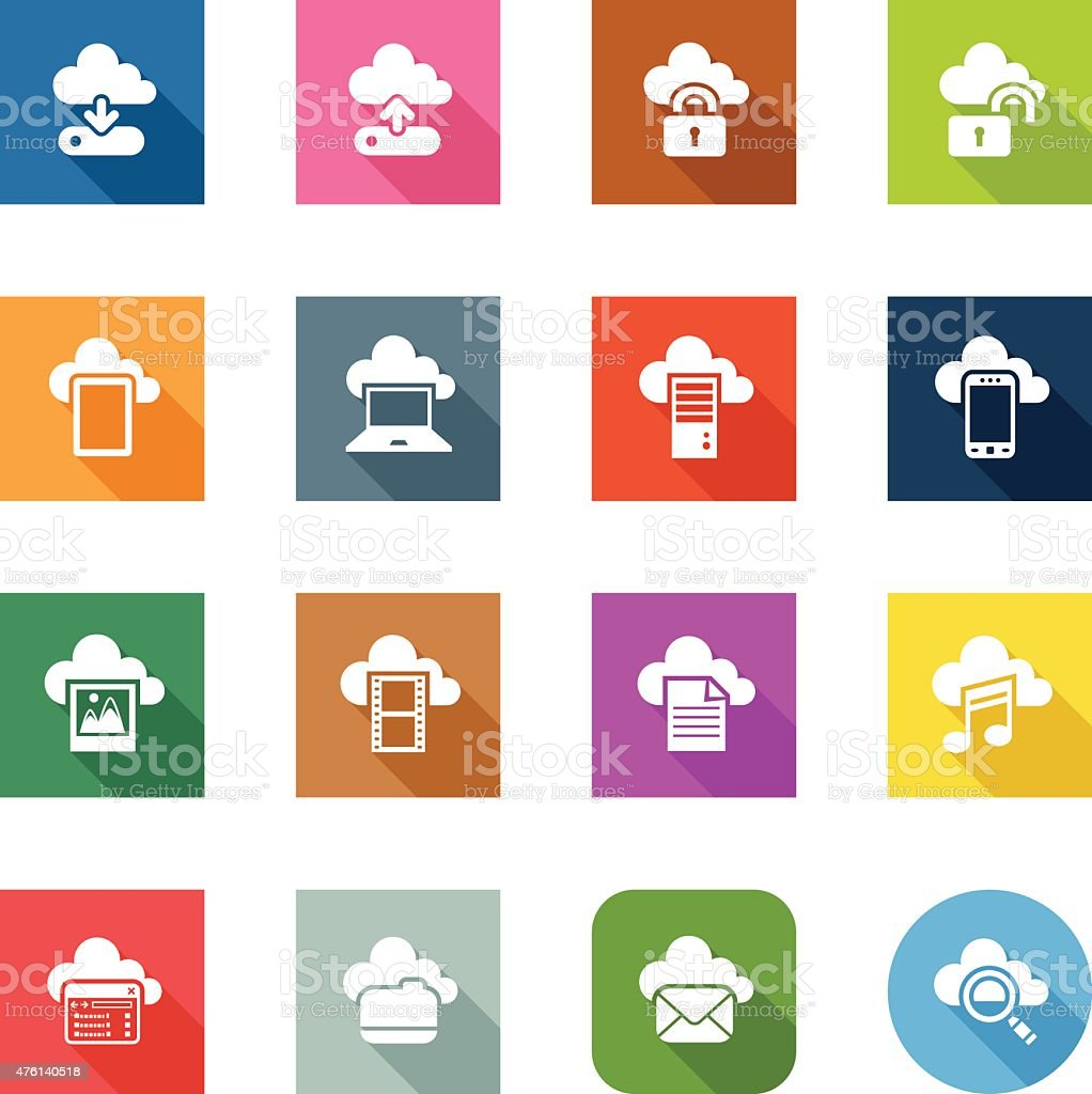 Flat Icons - Cloud Computing vector art illustration