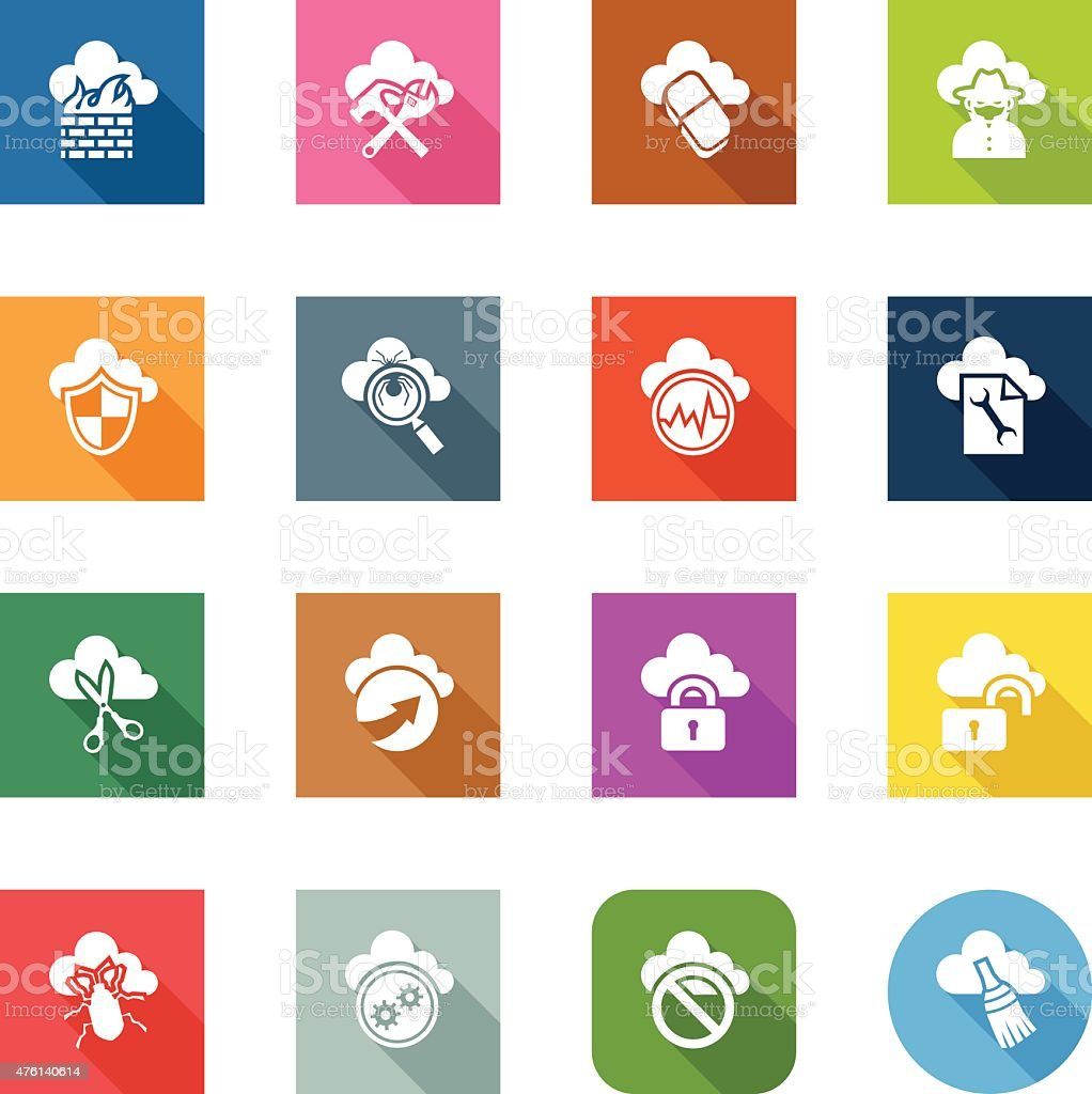 Flat Icons - Cloud Security vector art illustration