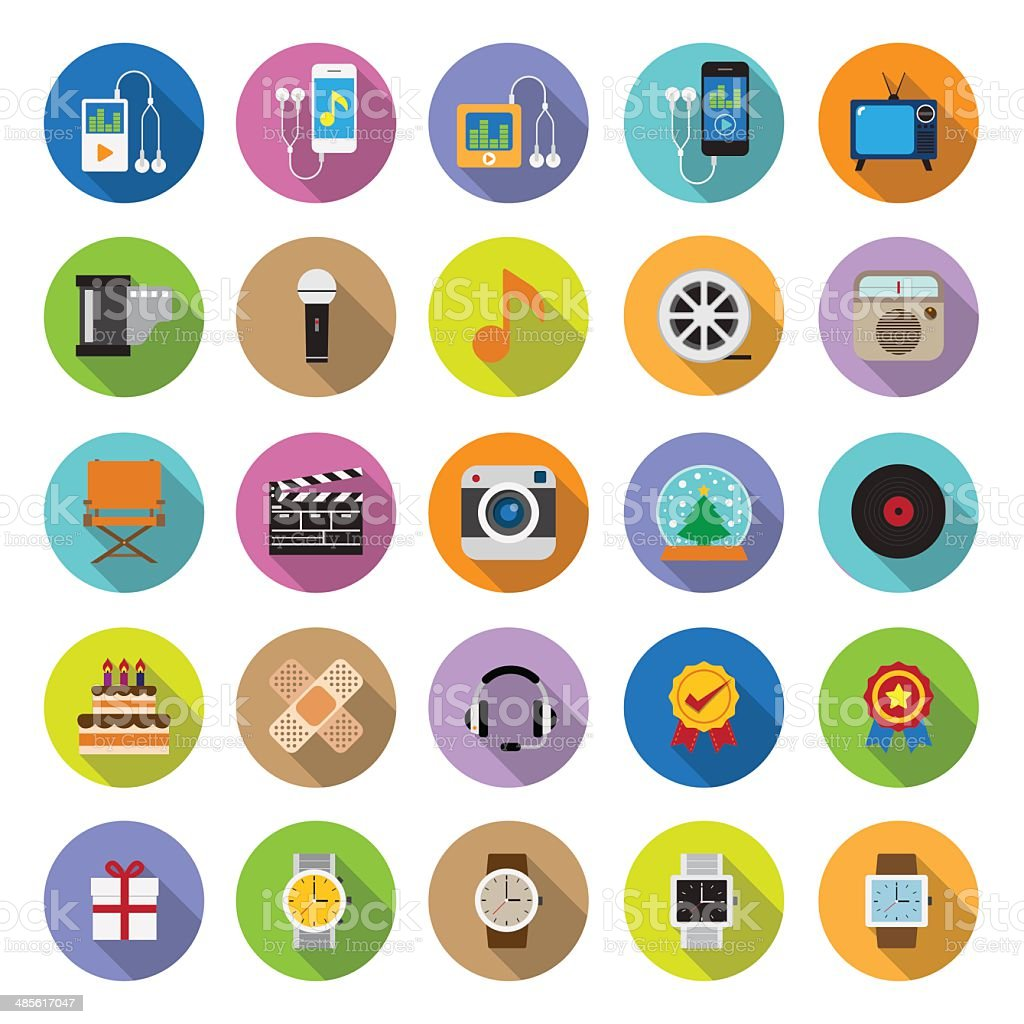 flat icons collection with long shadow vector art illustration