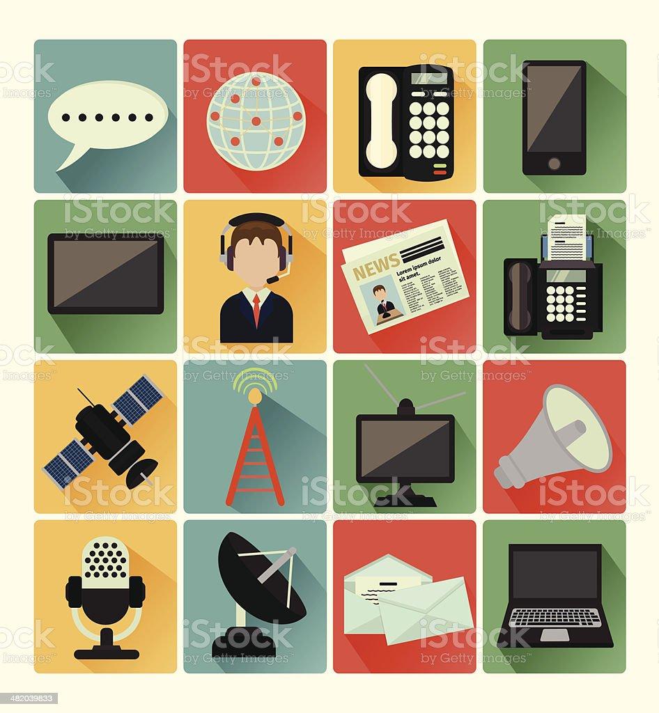 flat icons comunication royalty-free stock vector art