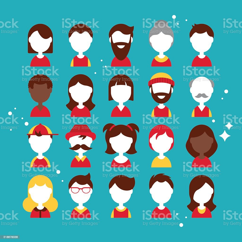 Flat icons design for people avatar vector art illustration