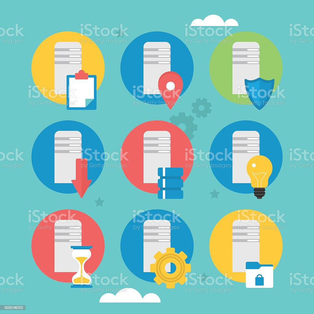 Flat icons design for server computing and data base vector art illustration