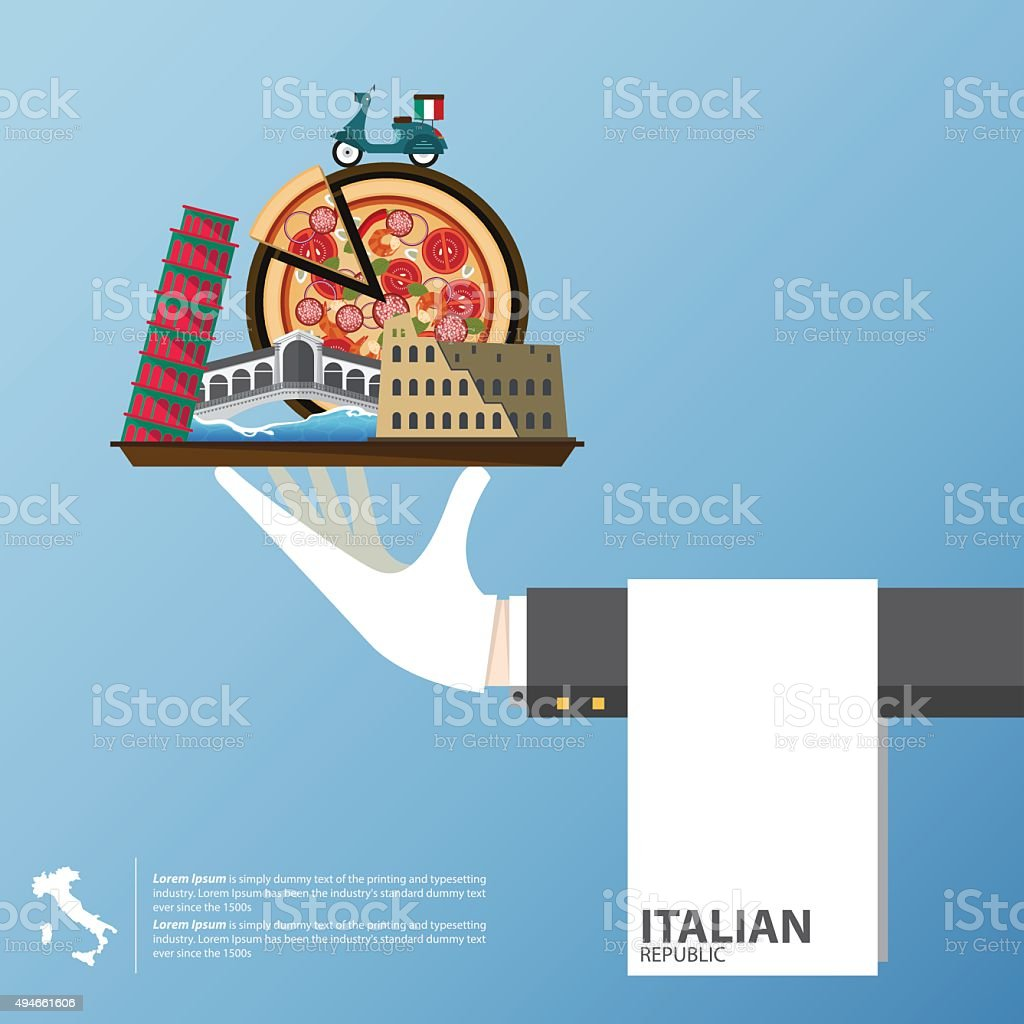Flat icons design of Italy landmarks. Global travel infographic . vector art illustration