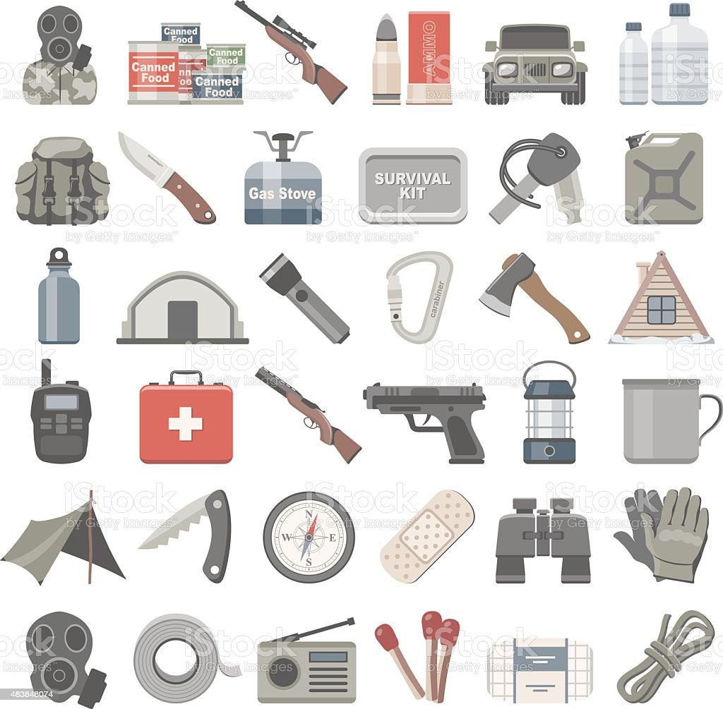 Flat Icons - Doomsday Preppers vector art illustration