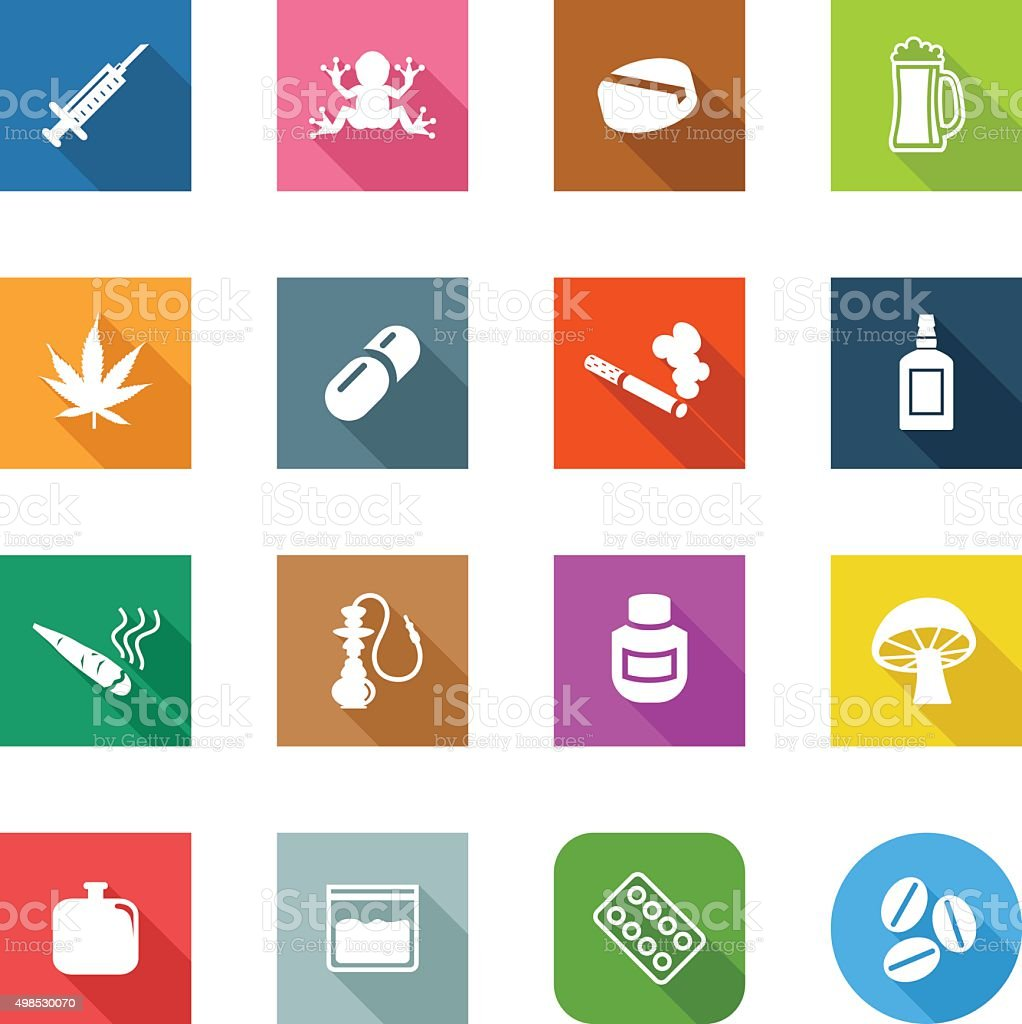 Flat Icons - Drugs vector art illustration
