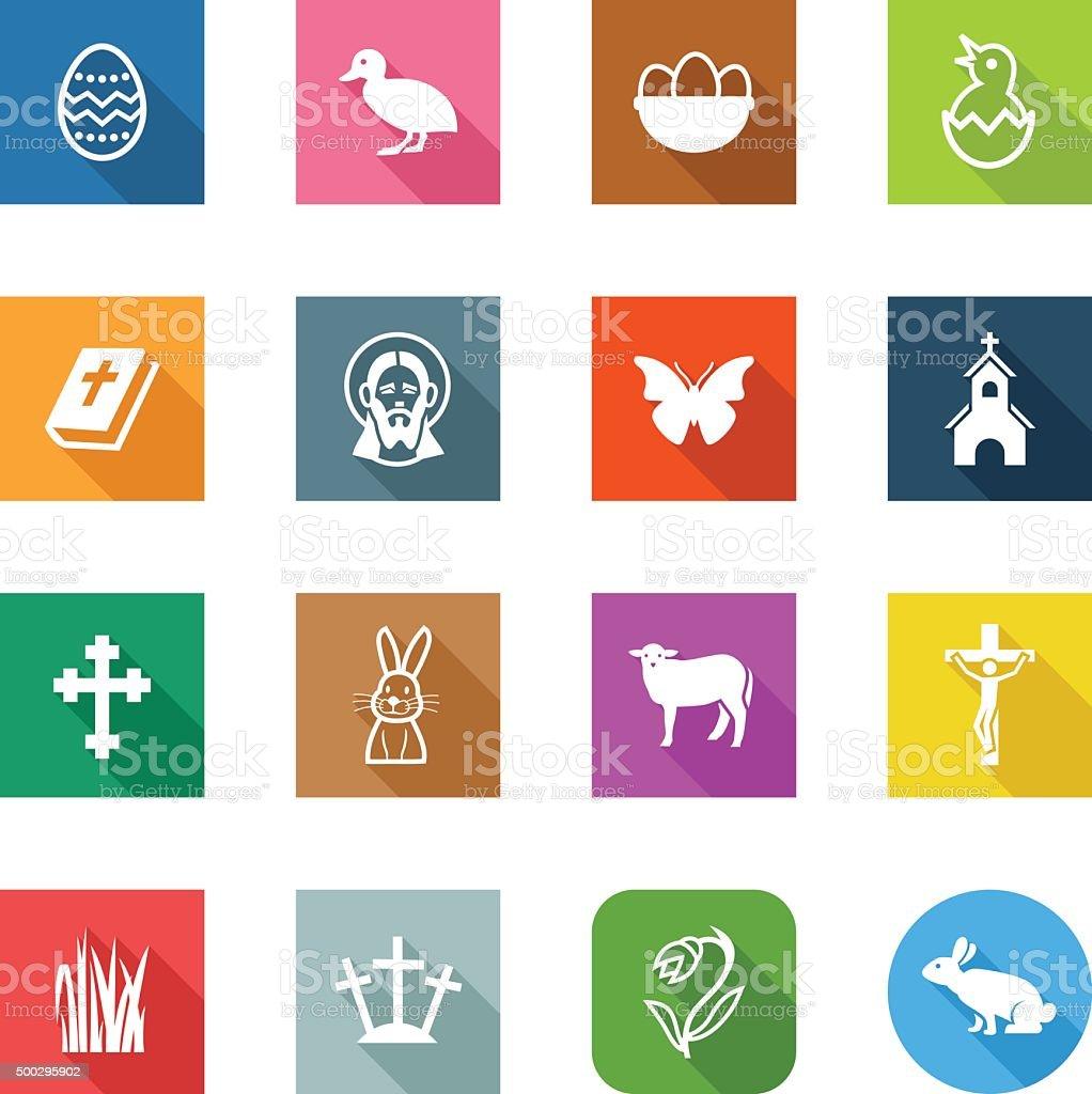 Flat Icons - Easter vector art illustration