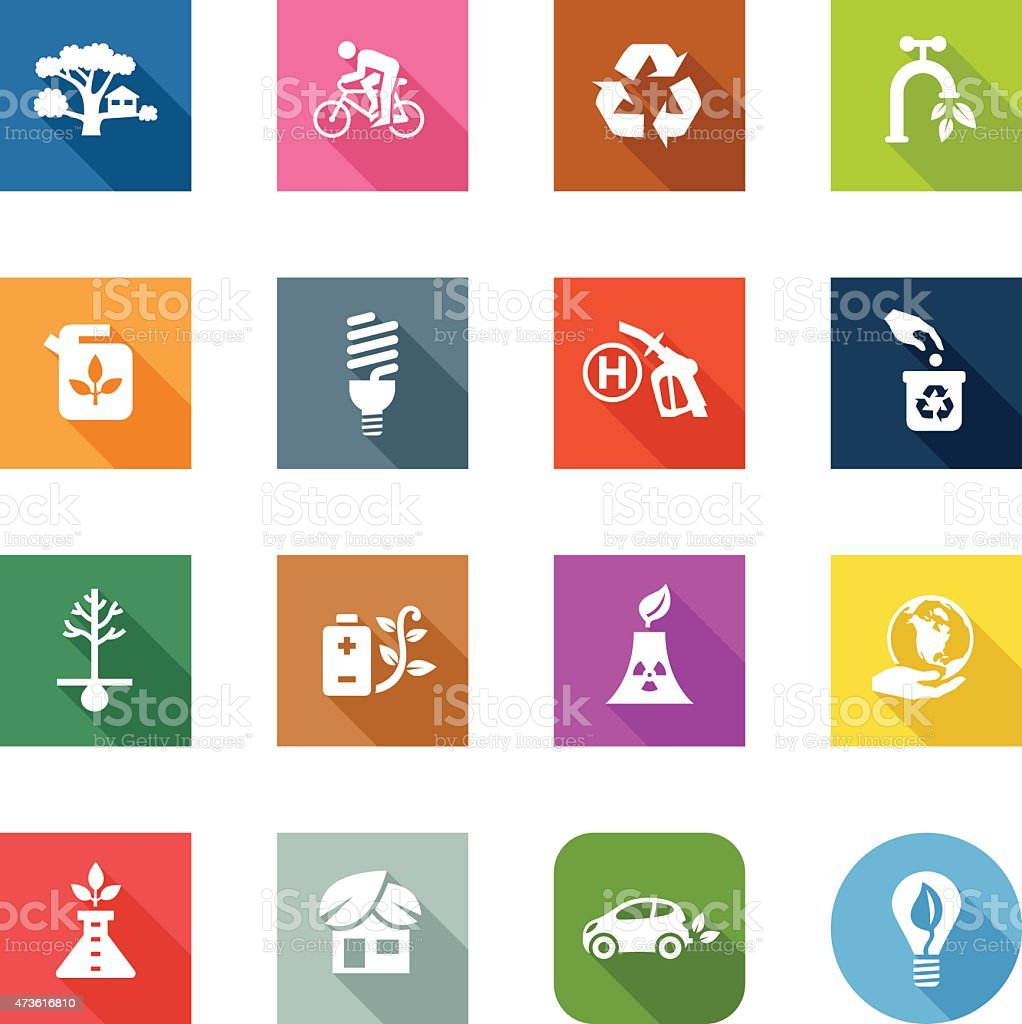 Flat Icons - Eco Friendly vector art illustration