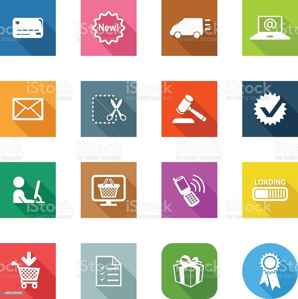 Flat Icons - E-Commerce vector art illustration