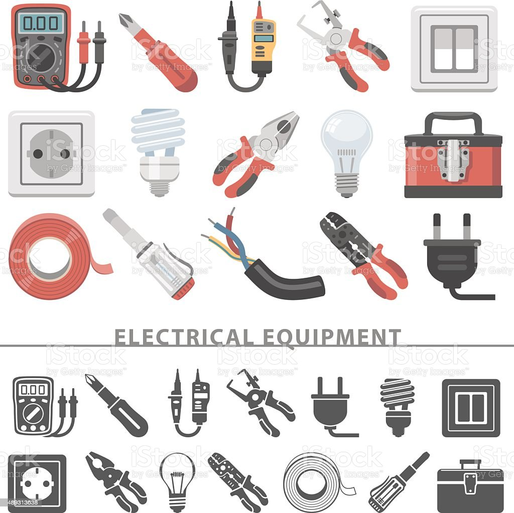Flat Icons - Electrical Equipment vector art illustration