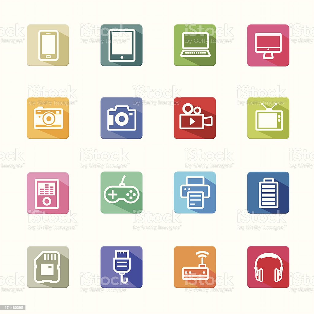 Flat Icons electronic devices and white background royalty-free stock vector art
