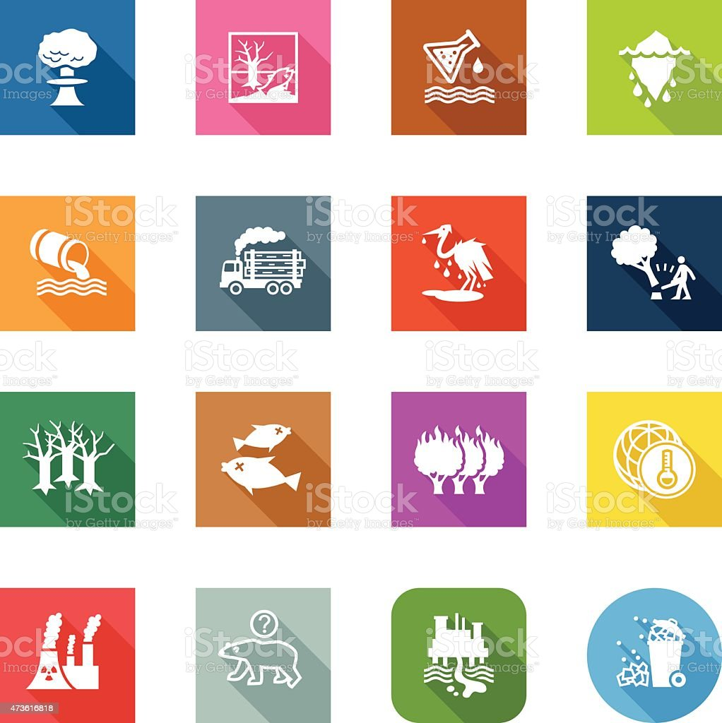 Flat Icons - Environmental Damage vector art illustration