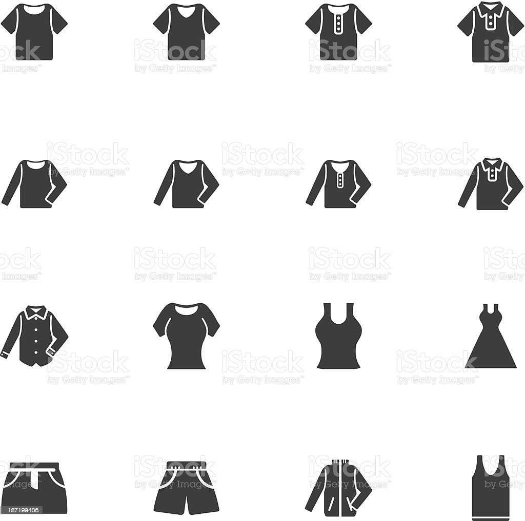 Flat icons for clothing silhouettes vector art illustration